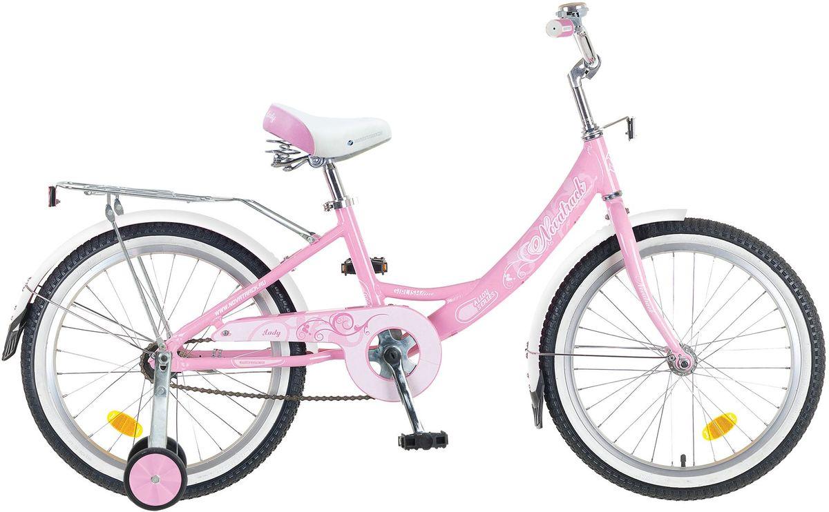 """Велосипед детский Novatrack Girlish Line, цвет: розовый, 20205AGIRLISH.WT5Novatrack Girlish Line 20'' – это яркий, простой в управлении и неприхотливый в обслуживании велосипед для девочек 7-10 лет. С первого взгляда можно понять, что это не просто велосипед, а средство передвижения настоящей леди с тонким вкусом. Модель достаточно легкая, но прочная и надежная благодаря алюминиевой раме. Большие колеса 20"""" и седло с пружинами обеспечат мягкую езду даже по неровной дороге. Надежное торможение гарантирует задний ножной тормоз тормоз. Светоотражатели обозначат местоположение велосипеда в сумерках, что важно для безопасности ребенка, а специальный кожух защитит ноги и одежду ребенка от соприкосновения с цепью. Удлиненные крылья снабжены брызговиками, позволяющими сохранить одежду чистой, даже если на пути встретится лужа. Качество сборки гарантирует абсолютную надежность. Girlish LIne 20 не подведет свою хозяйку на крутом спуске и не сломается в самый неподходящий момент."""