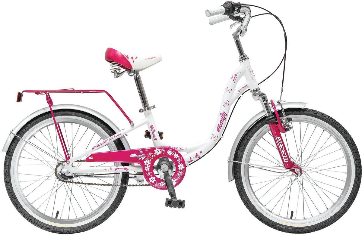 Велосипед детский Novatrack Butterfly, цвет: сиреневый, 2020AH3N.BUTTERFLY.WT5Novatrack Butterfly 20'' – это велосипед для юных принцесс 7-10 лет. Эта модель оснащена всем необходимым, для того, чтобы ребенок мог отправиться в увлекательное путешествие. Во-первых, на руле имеется зеркальце. Во-вторых, там же установлен великолепный гудок в стиле ретро, при помощи которого маленькая велосипедистка сможет вовремя сообщить зазевавшимся карапузам, что она тут катается. В-третьих, впереди прикреплена вместительная корзинка, куда можно сложить все необходимое. Для устойчивости конструкции к заднему колесу добавлены еще 2 маленьких съемных колесика – упасть с такого велосипеда практически невозможно даже на крутом вираже. Сиденье и руль легко регулируются по высоте и надежно фиксируются. Для безопасности также установлена защита цепи, а на колесах имеются крылья и катафоты. Велосипед оснащен 3 скоростной системой, которая позволит комфортно крутить педали. Надежные ручные тормоза, которыми очень просто пользоавться, обеспечат безопасное торможение перед любым...
