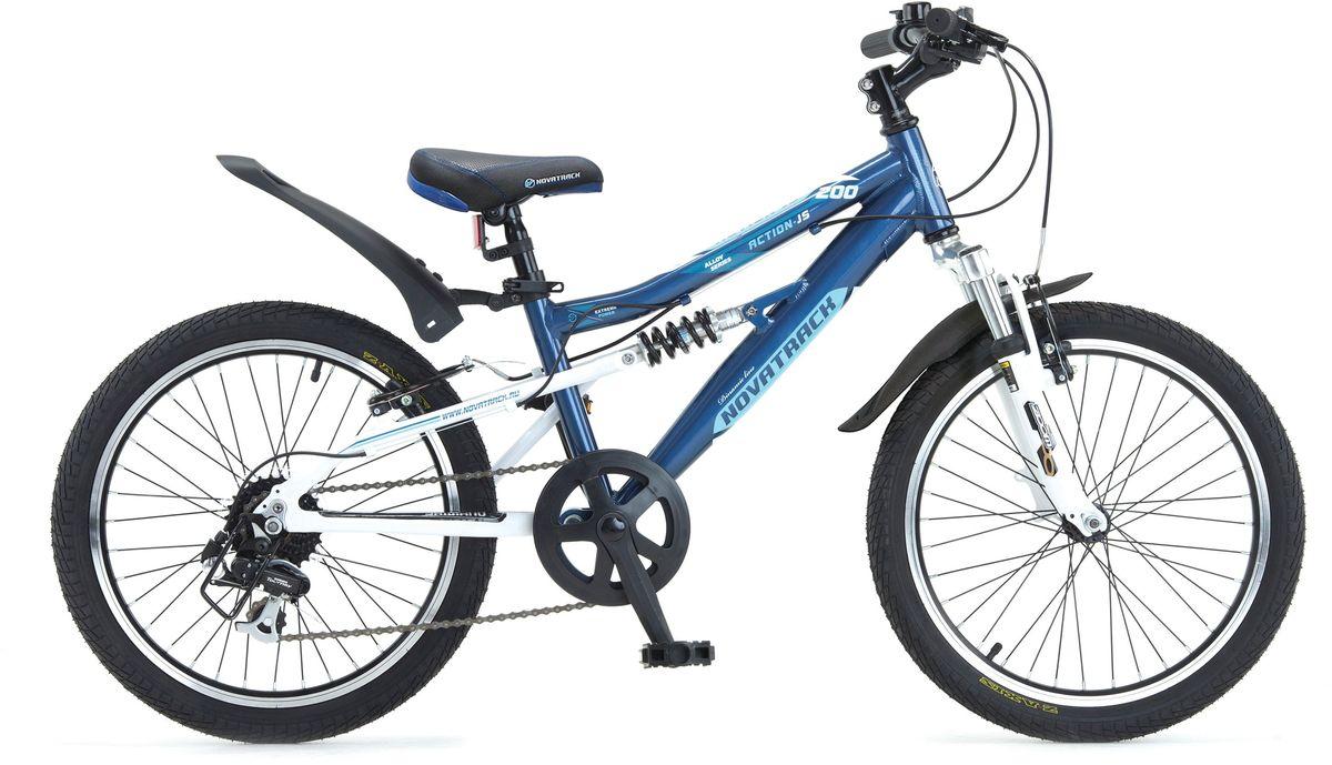 Велосипед детский Novatrack Action, цвет: темно-синий, 2020AS7V.ACTION.BL5Велосипед Novatrack Action-JS200 – это лучший велосипед, для того, чтобы приобщить к катанию мальчика 7-10 лет. Рама велосипеда выполнена из алюминия, поэтому достаточно прочная и легкая, благодаря чему, ребенок сможет самостоятельно выносить свое транспортное средство во двор. Велосипед оснащен передним и задним амортизатором, поэтому катание даже по неровной дороге не доставит никакого дискомфорта. Руль и сидение велосипеда регулируются по высоте, чтобы как можно дольше соответствовать росту ребенка. Быстро затормозить помогут надежные тормоза типа V-brake. 7 скоростей позволят найти оптитмальный режим езды при катании с горок и на горки. Эта модель прекрасно подойдет для обучения азам самостоятельного катания. Novatrack Action-JS200 очень надежный, поэтому готов к любым дорожным испытаниям.