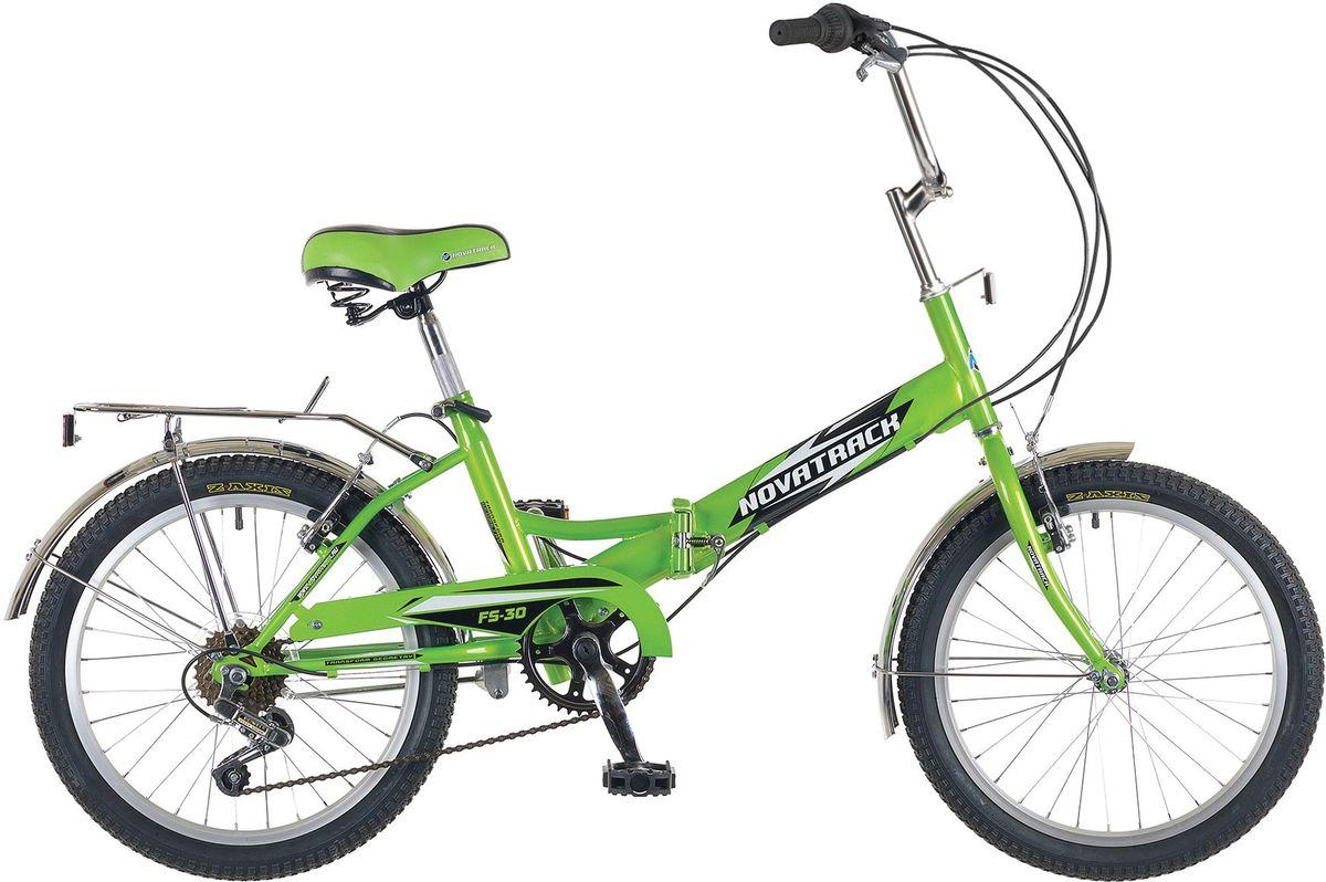 Велосипед складной Novatrack FS-30, цвет: светло-зеленый, 2020FFS306PV.GN5Novatrack FS-30 20'' – это складной универсальный велосипед , предназначенный практически для любого возраста, который отличается неприхотливостью, хорошей управляемостью и практичностью. Стальная рама складывается пополам, позволяя разместить велосипед в автомобиле или компактно хранить его в домашних условиях. Стоит отметить широкий диапазон регулировки высоты сидения и руля, благодаря чему велосипед универсален и подойдет для ребят различного роста. Торможение осуществляется ножным тормозом, который работает при любых условиях. Велосипед оснащен хромированными крыльями, широким усиленным багажником, защитным кожухом цепи, подножкой и светоотражателями.