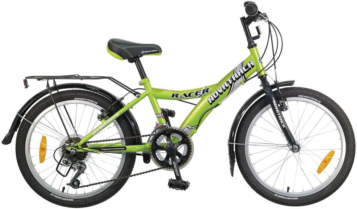 Велосипед детский Novatrack Racer, цвет: зеленый, 2020SH12V.RACER.GN7Велосипед Novatrack Racer 20 это один из лучших велосипедов для ребят 7-10 лет. Привлекательный дизайн, надежная сборка, легкость и отличная управляемость это еще не все плюсы данной модели. Низкая рама разработана таким образом, что ребенку очень легко взбираться и слезать с велосипеда, да и спрыгивать тоже, в случае непредвиденных обстоятельств во время катания. Велосипед полностью укомплектован и обязательно понравится маленькому велосипедисту тормоза типа V-brake, переключение скоростей, а их, между прочим, целых 6, багажник для перевозки небольших грузов, блестящие катафоты, агрессивные пластиковые крылья.