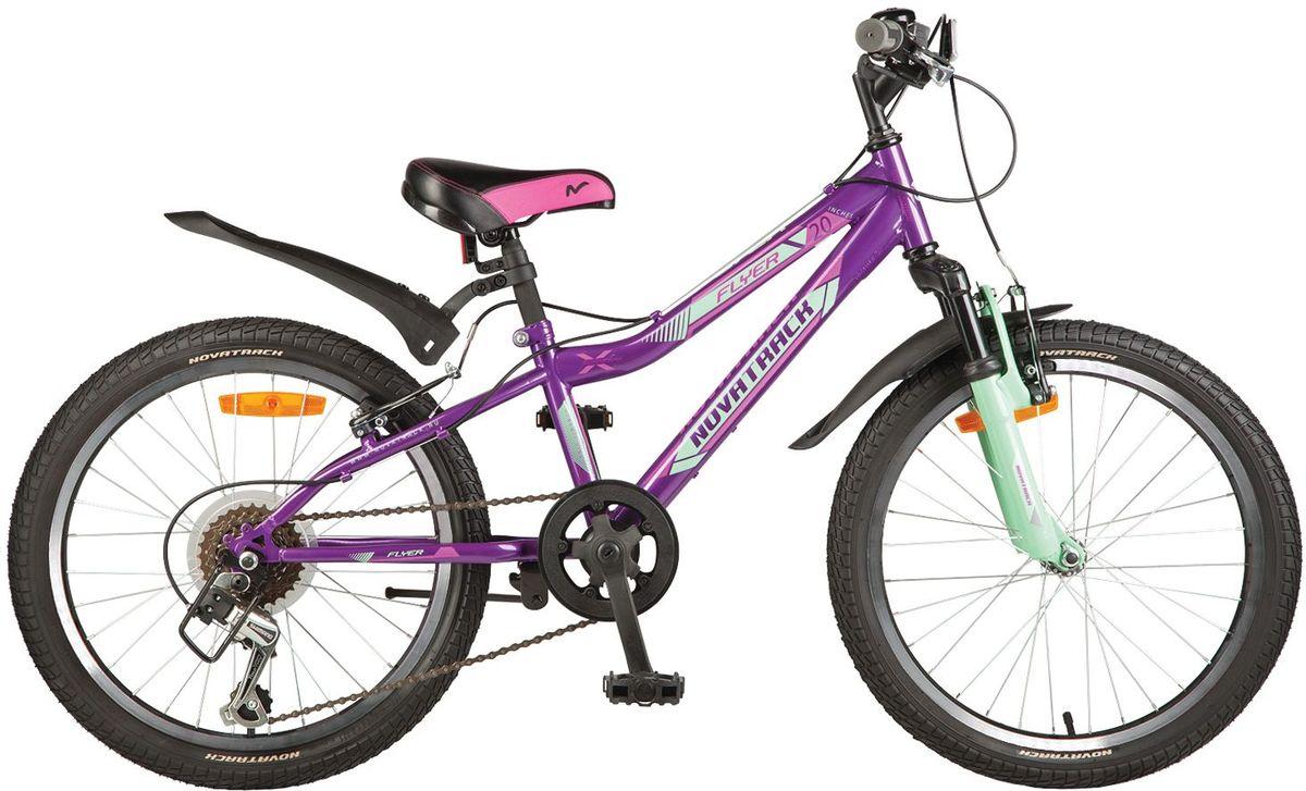 Велосипед детский Novatrack Flyer, цвет: фиолетовый, 2020SH6V.FLYER.VL7Велосипед Novatrack Flyer 20''- это велосипед для ребят 7-10 лет, коорый позволит легко освоить азы катания на скоростном велосипеде. Привлекательный дизайн, надежная сборка, легкость и отличная управляемость – это еще не все плюсы данной модели. Велосипед укомплектовали мягким регулируемым седлом, которое обеспечит удобную посадку во время катания. Руль велосипеда также регулируется по высоте и наклону, благодаря чему велосипед прослужит ребенку не один год. 6-скоростей, которые очень просто переключать, превратят любую поездку в увлекательный процесс. Передний амортизатор превращает велосипед в настоящий байк-внедорожник, который готов покорять городские дворы и парки. Для безопасности на велосипед установлены светоотражатели: на переднем и заднем колесе, а также на руле и подседельном штыре. Надежные тормоза типа V-brake позволят быстро затормозить в необходимый момент.