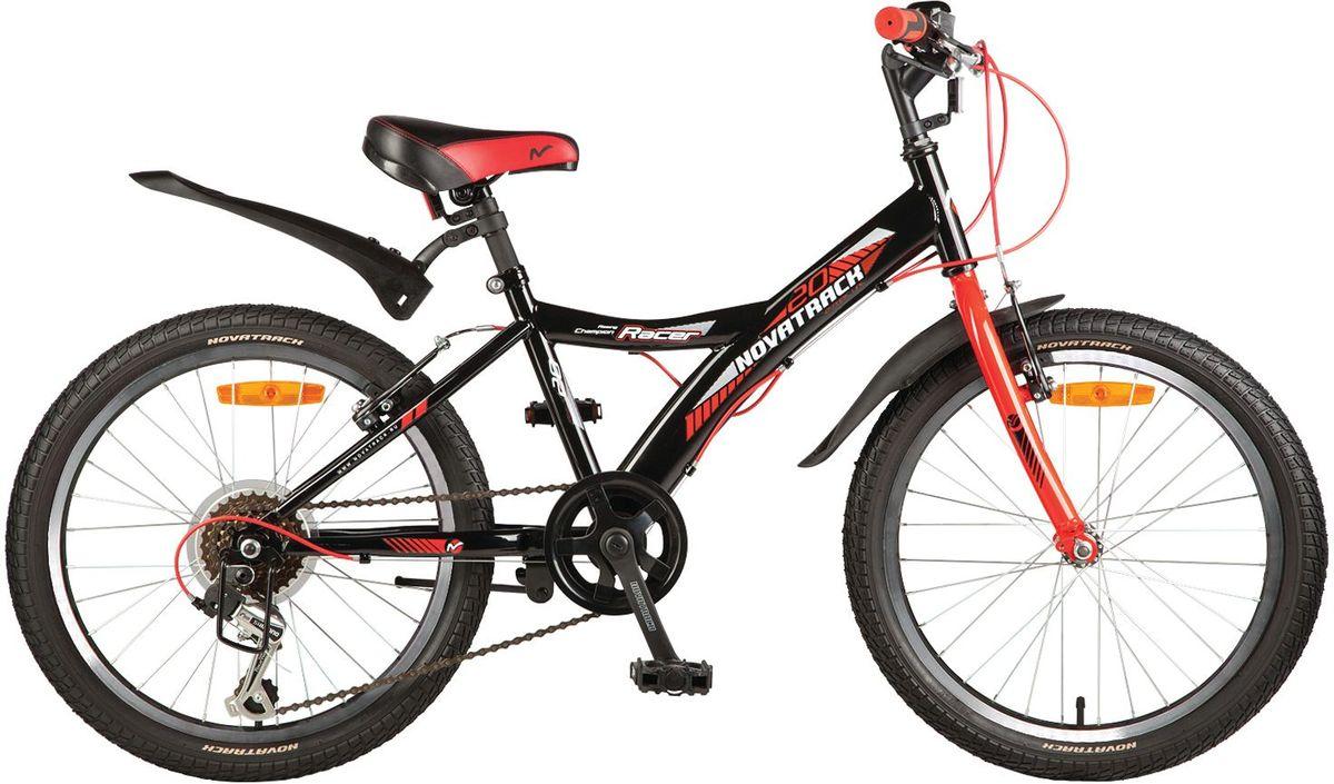 Велосипед детский Novatrack Racer, цвет: черный, 2020SH6V.RACER.BK7Велосипед Novatrack Racer 20'' – это один из лучших велосипедов для ребят 7-10 лет. Привлекательный дизайн, надежная сборка, легкость и отличная управляемость – это еще не все плюсы данной модели. Низкая рама разработана таким образом, что ребенку очень легко взбираться и слезать с велосипеда, да и спрыгивать тоже, в случае непредвиденных обстоятельств во время катания. Велосипед полностью укомплектован и обязательно понравится маленькому велосипедисту: тормоза типа V-brake, переключение скоростей, а их, между прочим, целых 6, багажник для перевозки небольших грузов, блестящие катафоты, агрессивные пластиковые крылья.