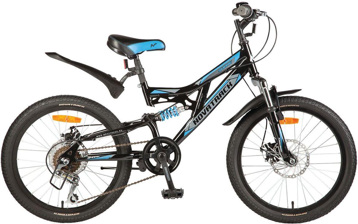 Велосипед детский Novatrack Shark, цвет: черный, 2020SS6D.SHARK.BK7Велосипед Novatrack Shark 20'' – это мечта любого мальчишки 7-10 лет. Это легко управляемый велосипед-двухподвес, который станет предметом гордости и постоянным спутником во время летних прогулок. Велосипед укомплектован по полной программе: передний и задний амортизаторы, 6 скоростей, передний и задний дисковые тормоза, катафоты и крылья. Велосипед оснащен мягким регулируемым седлом, которое обеспечит удобную посадку во время катания. Руль велосипеда также регулируется по высоте, благодаря чему велосипед долго будет соответствовать росту ребенка. Shark 20'' самая подходящая модель для катания не только во дворе, но и в парках, а также за городом.