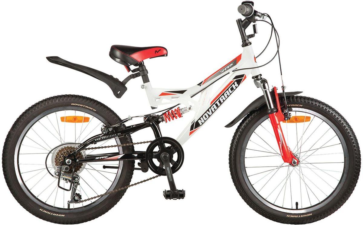 Велосипед детский Novatrack Shark, цвет: белый, 2020SS6V.SHARK.WT7Велосипед Shark 20'' – это мечта любого мальчишки 7-10 лет. Это легко управляемый велосипед-двухподвес, который станет предметом гордости и постоянным спутником во время летних прогулок. Велосипед укомплектован по полной программе: передний и задний амортизаторы, 6 скоростей, надежные тормоза типа V-brake, катафоты и крылья. Велосипед оснащен мягким регулируемым седлом, которое обеспечит удобную посадку во время катания. Руль велосипеда также регулируется по высоте, благодаря чему велосипед долго будет соответствовать росту ребенка. Shark 20'' самая подходящая модель для катания не только во дворе, но и в парках, а также за городом.