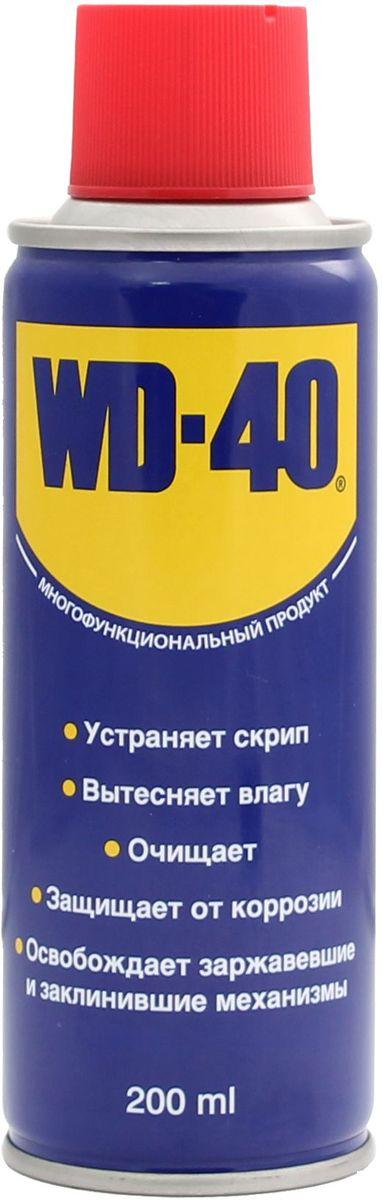 Смазка универсальная WD-40, 200 мл00655Средство универсальное WD-40 для тысячи применений на работе и в быту! WD-40 помогает деталям и механизмам работать исправно и эффективно. Устраняет скрип, вытесняет влагу с металлических поверхностей, очищает от смолы, клея, жира, оставляет защитную пленку против коррозии. Проникает в ржавчину и освобождает болты и гайки, смазывает движущие части механизмов.