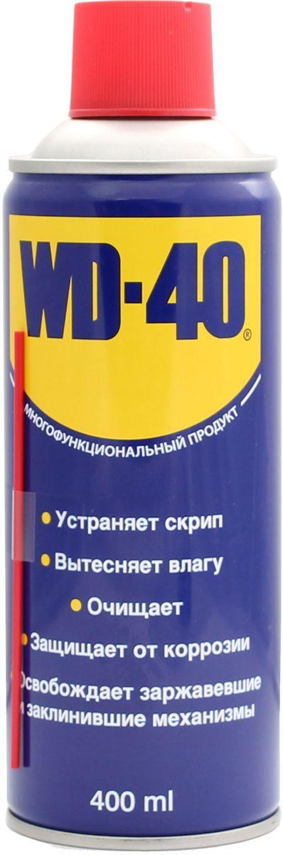 Смазка универсальная WD-40, 400 мл34604Средство универсальное WD-40 для тысячи применений на работе и в быту! WD-40 помогает деталям и механизмам работать исправно и эффективно. Устраняет скрип, вытесняет влагу с металлических поверхностей, очищает от смолы, клея, жира, оставляет защитную пленку против коррозии. Проникает в ржавчину и освобождает болты и гайки, смазывает движущие части механизмов.
