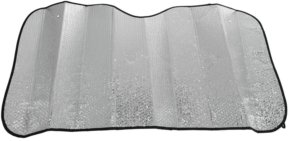 Шторка солнцезащитная Главдор, на лобовое стекло, 130 х 60 смGL-703Солнцезащитная шторка фиксируется с помощью двух присосок на лобовое стекло (присоски в комплекте). Изготовлена из металлизированный фольги и плотного основания. Предназначена для отражения солнечных лучей, нагреванию и выгоранию поверхности деталей салона.