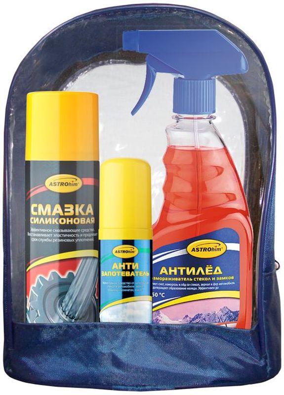 Набор автохимии ASTROhim: размораживатель стекол, силиконовая смазка, антизапотевательАс-513