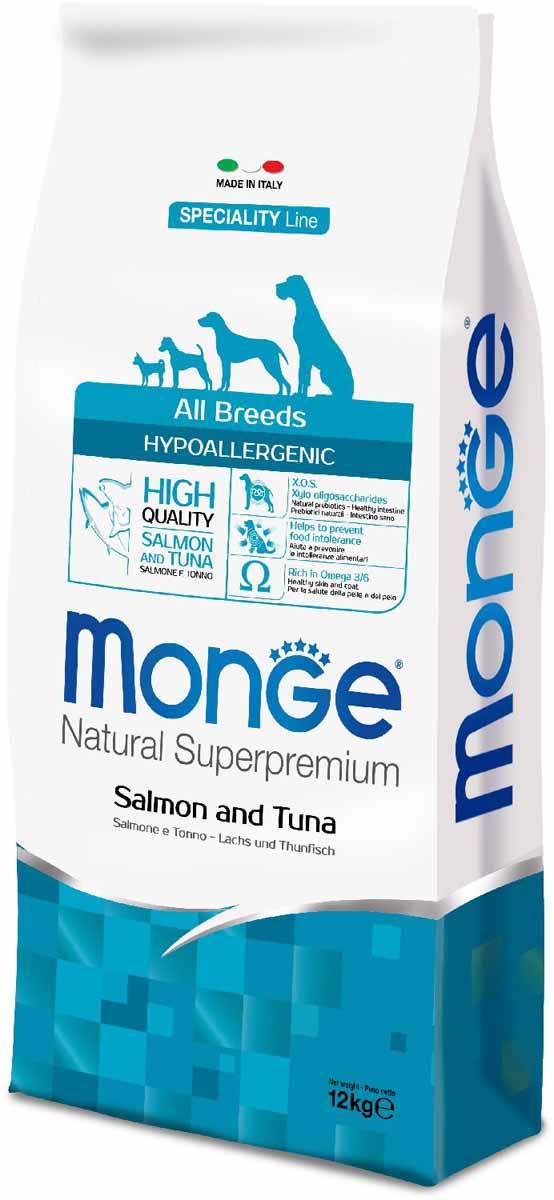 Корм сухой Monge Dog Speciality Hypoallergenic, для собак, гипоаллергенный, с лососем и тунцом, 12 кг70011174Monge Dog Speciality Hypoallergenic - гипоаллергенный корм для собак всех пород, лосось с тунцом, 12 кг. Полнорационный корм на основе риса, лосося и тунца для взрослых собак всех пород с особыми потребностями. Разработан на основе лосося северного моря, богат омега-3 и омега-6 жирными кислотами, которые позволяют предупредить воспалительные процессы и сохранить здоровье кожи и шерсти вашего питомца. Лосось и тунец обогащены ксилоолигосахаридами (КОС), натуральными пербиотиками, благодаря которым корм прекрасно подходит для собак с проблемами пищеварения и кожными заболеваниями. Данный продукт предназначен для собак с заболеваниями кожи, такими, как дерматит, перхоть, зуд, а также для собак со светлой шерстью. Анализ компонентов: сырой белок 24,00%, сырые масла и жиры 12,00%, сырая клетчатка 2,00%, сырая зола 6,50%, кальций 1,40%, фосфор 1,10%, омега-6 жирные кислоты 3,60%, омега-3 жирные кислоты 0,90%. Пищевые добавки/кг: витамин А 24000 МЕ, витамин D3 1700...