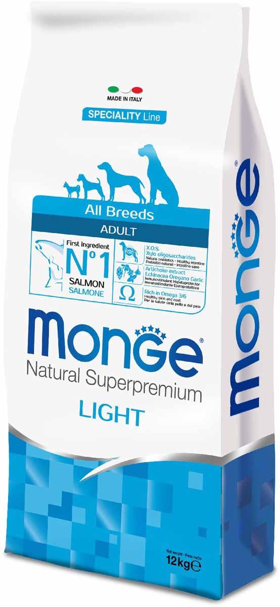 Корм сухой Monge Dog Speciality Light, для собак всех пород, низкокалорийный, с лососем и рисом, 12 кг70011235Monge Dog Speciality Light - низкокалорийный корм для собак всех пород, лосось с рисом, 12 кг. Полнорационный корм на основе лосося и риса для взрослых собак всех пород с особыми потребностями. Разработан на основе лосося северного моря, богат омега-3 и омега-6 жирными кислотами, которые позволяют предупредить воспалительные процессы и сохранить здоровье кожи и шерсти вашего питомца. Лосось и рис гарантируют правильное усвоение белков и углеводов. Корм прекрасно подходит для собак с проблемами пищеварения и кожными заболеваниями. Данный продукт предназначен для собак с заболеваниями кожи, такими, как дерматит, перхоть, зуд, а также для собак со светлой шерстью. Глюкозамин, хондроитин и МСМ благотворно влияют на здоровье всего костного аппарата, помогают предотвратить возникновение болезней суставов. Анализ компонентов: сырой белок 24,00%, сырые масла и жиры 12,00%, сырая клетчатка 2,50%, сырая зола 6,00%, кальций 1,40%, фосфор 0,90%, омега-6 жирные кислоты 3,50%,...