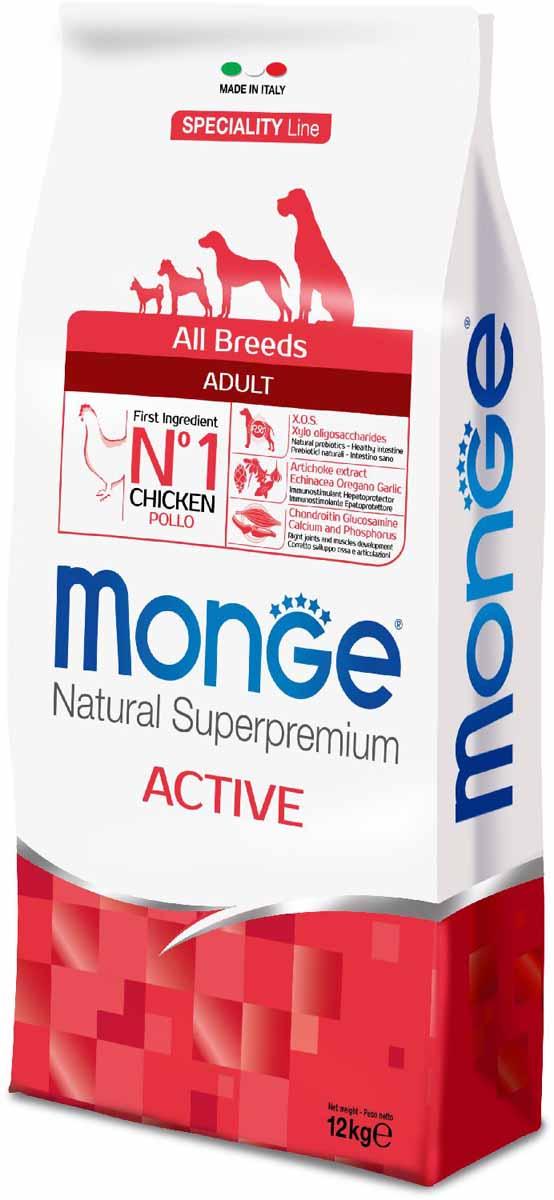 Корм сухой Monge Dog Speciality Active, для активных собак, с курицей, 12 кг70011242Monge Dog Speciality Active - корм с курицей для взрослых собак всех пород с повышенной физической нагрузкой, 12 кг. Полноценный сбалансированный рацион для взрослых собак всех пород с высокой активностью и с особыми потребностями. Ингридиенты, входящие в состав корма, помогают бороться с аллергическими воспалительными реакциями. Высокий уровень белка и жира необходим для дополнительного обеспечения энергией активных собак и собак с повышенной физической нагрузкой. Содержание X.O.S. помогает сохранить естественный баланс кишечной микрофлоры, способствует оптимальному усвоению питательных веществ и повышает иммунитет. Глюкозамин, хондроитин, кальций и фосфор для здоровья суставов. Эти вещества в составе корма способствуют нормальному функционированию суставов опорно-двигательного аппарата. L-карнитин для улучшения обменных и энергетических процессов в мышцах. Необходим для формирования крепкой мускулатуры животных. Поддерживает правильную работу сердца и печени,...