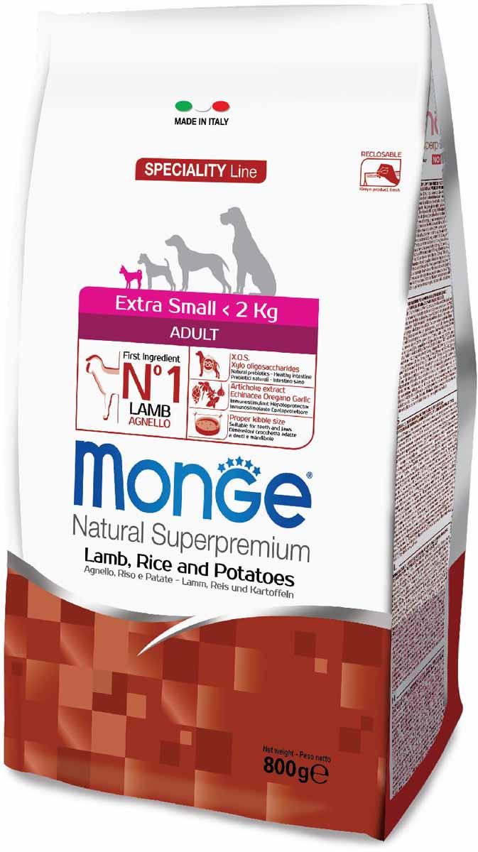 Корм сухой Monge Dog Speciality Extra Small, для взрослых собак миниатюрных пород, с ягненком, рисом и картофелем, 800 г70011471Мonge Dog Speciality Extra Small ягненок, рис и картофель, 800 г. Полнорационный корм для взрослых собак миниатюрных пород идеально подходит для собак, нуждающихся в питании с низким содержанием холестерина. Ингредиенты, входящие в состав, помогают бороться с аллергическими реакциями и воспалениями и подходит для собак с проблемами пищеварения. Входящие в состав ФОС (фруктоолигосахариды) поддерживают здоровую микрофлору кишечника. Мясо ягненка и рис - это гарантия правильного усвоения белков и углеводов. Высокое содержание сбалансированных омега-3 и омега-6 жирных кислот, цинка и биотина обеспечивает блестящую шерсть и здоровую кожу питомца. Глюкозамин, хондроитин и МСМ благотворно влияют на здоровье суставов и всего костного аппарата, помогают предотвратить возникновение болезней суставов.Анализ компонентов: сырой белок 26,00%, сырые масла и жиры 15,00%, сырая клетчатка 2,50%, сырая зола 6,00%, кальций 1,20%, фосфор 0,80%, омега-6 жирные кислоты 6,40%, омега-3...