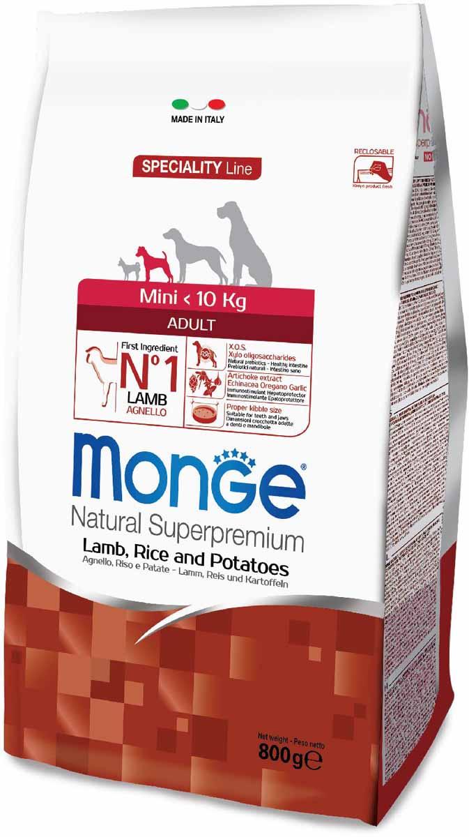 Корм сухой Monge Dog Speciality Mini, для взрослых собак мелких пород, с ягненком, рисом и картофелем, 800 г70011532Monge Dog Speciality корм для собак всех пород, ягненок с рисом и картофелем, 800 г. Полнорационный корм для взрослых собак всех пород с ягненком, рисом и картофелем. Идеально подходит для собак, нуждающихся в питании с низким содержанием холестерина. Ингредиенты, входящие в состав, помогают бороться с аллергическими реакциями и воспалениями и подходит для собак с проблемами пищеварения. Входящие в состав ФОС (фруктоолигосахариды) поддерживают здоровую микрофлору кишечника. Мясо ягненка и рис — это гарантия правильного усвоения белков и углеводов. Высокое содержание сбалансированных омега-3 и омега-6 жирных кислот, цинка и биотина обеспечивает блестящую шерсть и здоровую кожу питомца. Глюкозамин, хондроитин и МСМ благотворно влияют на здоровье суставов и всего костного аппарата, помогают предотвратить возникновение болезней суставов. Анализ компонентов: сырой белок 27,00%, сырые масла и жиры 14,00%, сырая клетчатка 2,50%, сырая зола 6,50%, кальций 1,70%, фосфор...