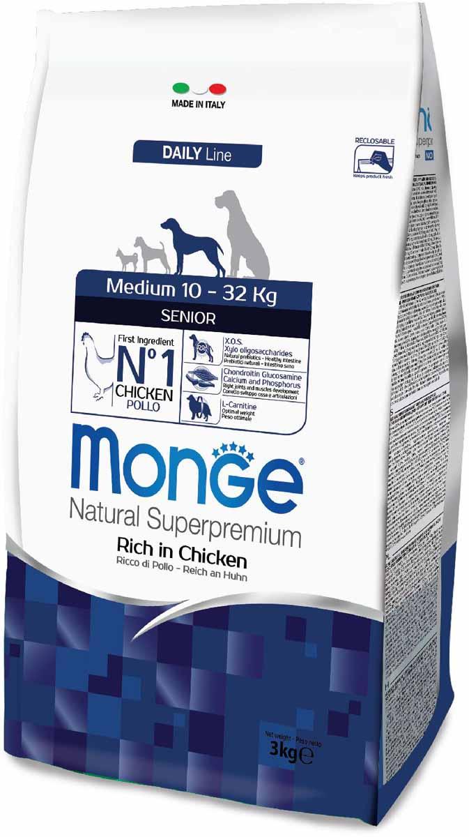 Корм сухой Monge Dog Medium, для пожилых собак средних пород, 3 кг70011679Monge Dog Medium корм для пожилых собак средних пород с курицей, 3 кг. Полноценный сбалансированный рацион для пожилых собак средних пород. Содержание X.O.S. помогает сохранить естественный баланс кишечной микрофлоры, способствует оптимальному усвоению питательных веществ и повышает иммунитет. Высококачественное свежее мясо способствует наиболее оптимальному пищеварению и усвоению питательных веществ, которые помогают формировать и поддерживать мускулатуру и активность животного. L-карнитин для улучшения обменных и энергетических процессов в мышцах. Активизирует жировой обмен, поддерживает нормальную работу сердца и печени, стимулирует регенерацию клеток. Способствует поддержанию оптимального веса животного. Омега-3 и омега-6 жирные кислоты для красоты шерсти и здоровья кожи. Оптимальный баланс омега-3 и омега-6 в составе корма чрезвычайно важен для поддержания кожи и шерсти в отличном состоянии. Анализ компонентов: сырой белок 26,00%, сырые масла и жиры 13,00%,...