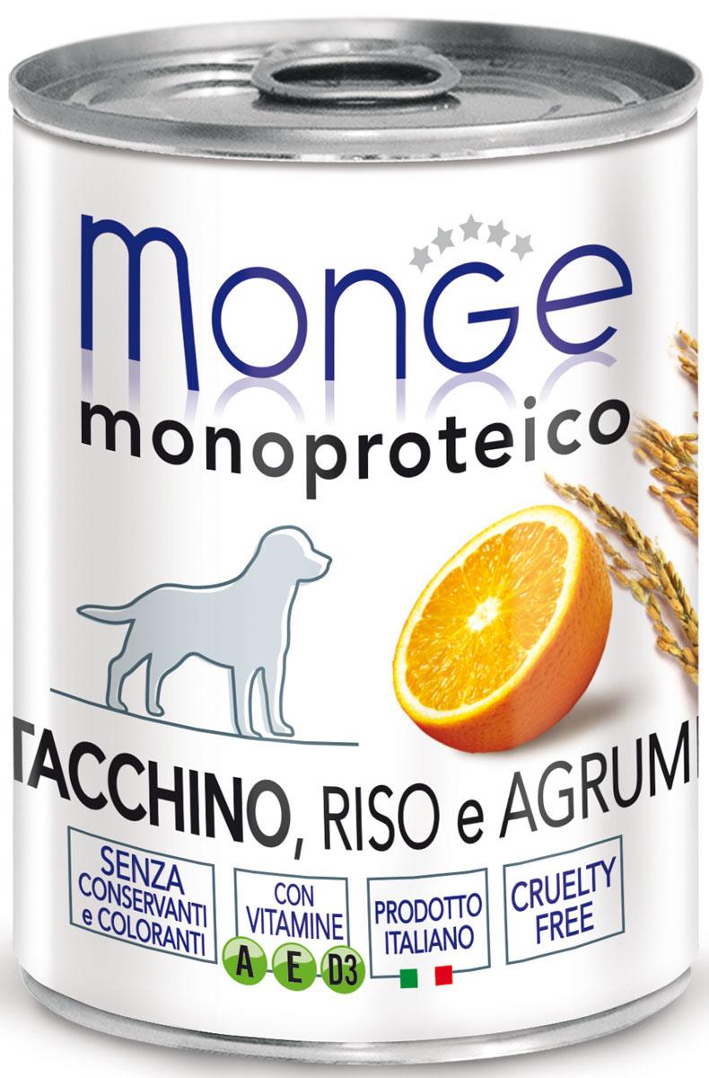 Консервы Monge Dog Monoproteico Fruits, для собак, паштет из индейки с рисом и цитрусовыми, 400 г70014335Monge Dog Monoproteico Fruits консервы для собак, паштет из индейки с рисом и цитрусовыми, 400 г. Полнорационный корм для собак. Паштет из индейки с рисом и цитрусовыми. Гарантированный анализ: сырой белок 8,1%, сырые масла и жиры 6,5%, сырая зола 2%, сырая клетчатка 0,8%, влажность 80%. Пищевые добавки/кг: витамин А 2500 МЕ, витамин D3 300 МЕ, витамин Е (альфа-токоферол 91%) 7 мг. Ингредиенты: свежее мясо индейки 100%, злаки (рис 4,2%), сухой экстракт апельсина (0,5%), минеральные вещества, витамины. Технологические добавки: загустители и желеобразующие компоненты. Не содержит красителей, консервантов иглютена. Рекомендации по кормлению: собакам мелких пород необходимо около 400 г продукта в день. Количество корма может варьироваться в зависимости от индивидуальных потребностей животного. Продукт подавать комнатной температуры или подогретый. Важно, чтобы животное всегда имело доступ к чистой, свежей воде. Открытую упаковку хранить в холодильнике.