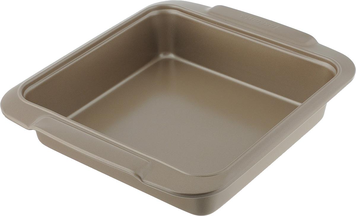 Противень Tescoma Delicia Gold, с антипригарным покрытием, 23 x 23 см623530Глубокий противень Tescoma Gold, выполненный из высококачественной нержавеющей стали с антипригарным покрытием, идеально подойдет для приготовления домашней выпечки. Технология антипригарного покрытия способствует оптимальному распределению тепла. Противень легко чистить и мыть. Подходит для использования в духовом шкафу, в электрических, и газовых плитах. Размер противня (с учетом ручек): 26,5 х 23 х 5,5 см. Внутренний размер противня: 20 х 20 х 5 см.