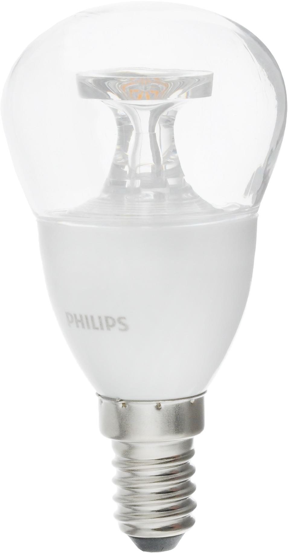 Лампа светодиодная Philips LED lustre, цоколь E14, 5,5-40W, 2700КЛампа LED 5.5-40W E14 2700K 230V P45CLNDСовременные светодиодные лампы Philips LED lustre экономичны, имеют долгий срок службы и мгновенно загораются, заполняя комнату светом. Лампа классической формы и высокой яркости позволяет создать уютную и приятную обстановку в любой комнате вашего дома. Светодиодные лампы потребляют на 91 % меньше электроэнергии, чем обычные лампы накаливания, излучая при этом привычный и приятный теплый свет. Срок службы светодиодной лампы Philips составляет до 15 000 часов, что соответствует общему сроку службы 15 ламп накаливания. В результате менять лампы приходится значительно реже, что сокращает количество отходов. Напряжение: 220-240 В. Световой поток: 470 lm.