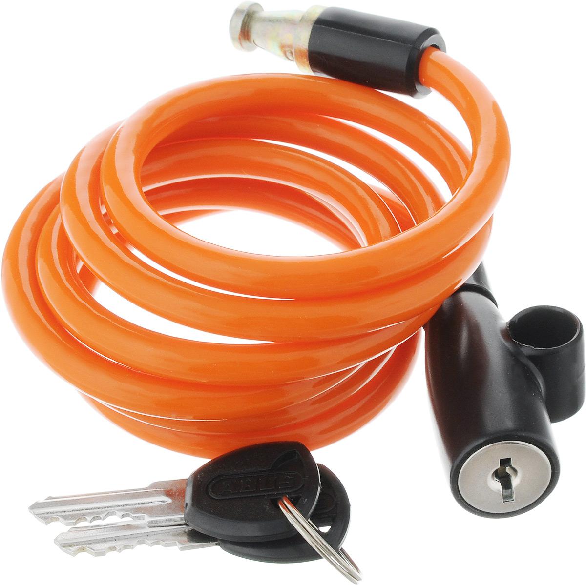 Велозамок Abus 1950/120 Kids, с ключами, цвет: оранжевый, диаметр 7 мм, длина 1,31 м431609_ABUS_оранжевыйВелосипедный замок Abus 1950/120 Kids - это отличная вещь для сохранности вашего велосипеда. Замок, выполненный из прочного пластика, оснащен металлическим тросом обтянутым мягким ПВХ. Блокируется при помощи ключа. Количество ключей: 2 шт. Диаметр троса: 7 мм. Длина: 1,31 м.