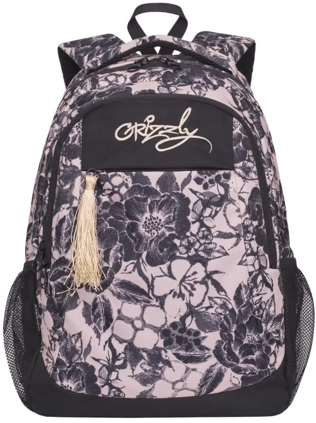 Рюкзак городской женский Grizzly, цвет: черно-серый. RD-741-1/3RD-741-1/3Рюкзак молодежный, два отделения, карман на молнии на передней стенке, боковые карманы из сетки, внутренний подвесной карман на молнии, внутренний составной пенал-органайзер, анатомическая спинка, дополнительная ручка-петля, мягкая укрепленная ручка