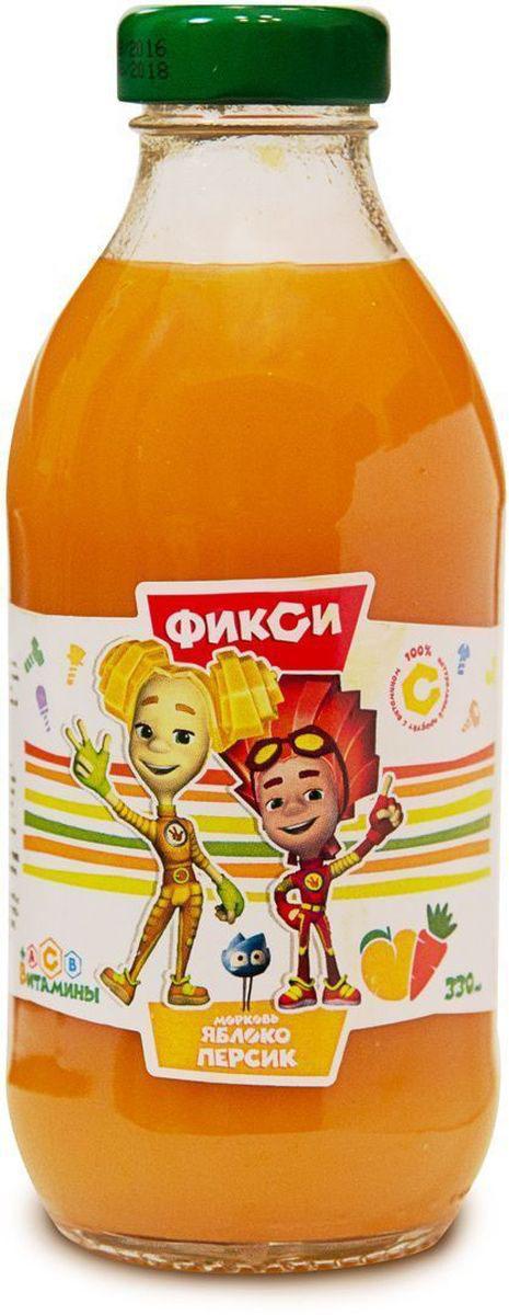 Фиксики Морковь Яблоко Персик нектар детский, 0,33 л0006Нектар морковь яблоко персик с мякотью гомогенизированный ГОСТ 32100-2013. Минимальная объемная доля пюре 50%. Изготовлен из концентрированного пюре.