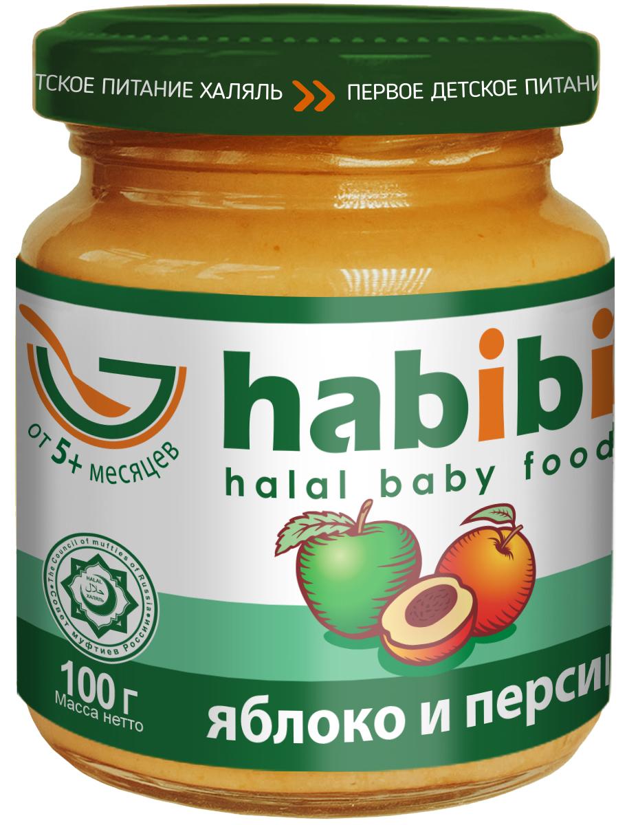 Habibi пюре яблоко и персик с сахаром, 100 г habibi пюре груша без сахара 100 г
