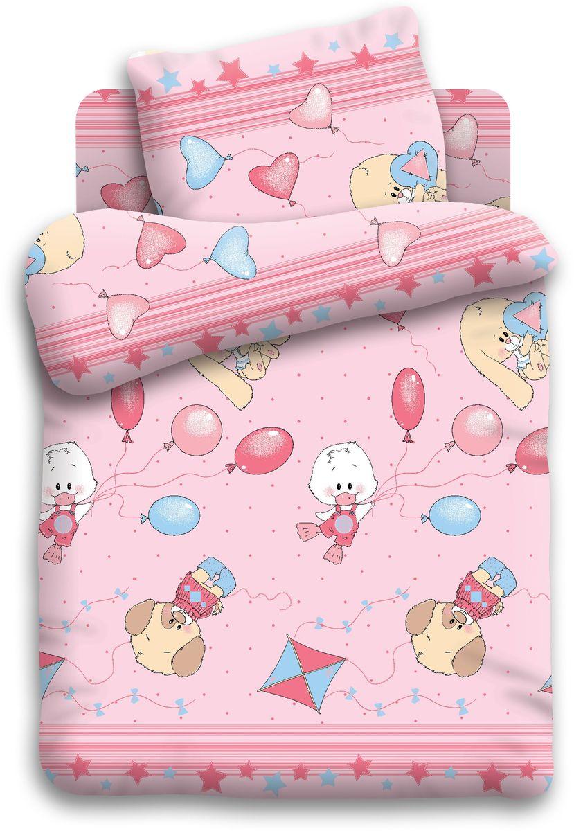 Кошки-мышки Комплект детского постельного белья Веселые друзья цвет розовый 3 предмета