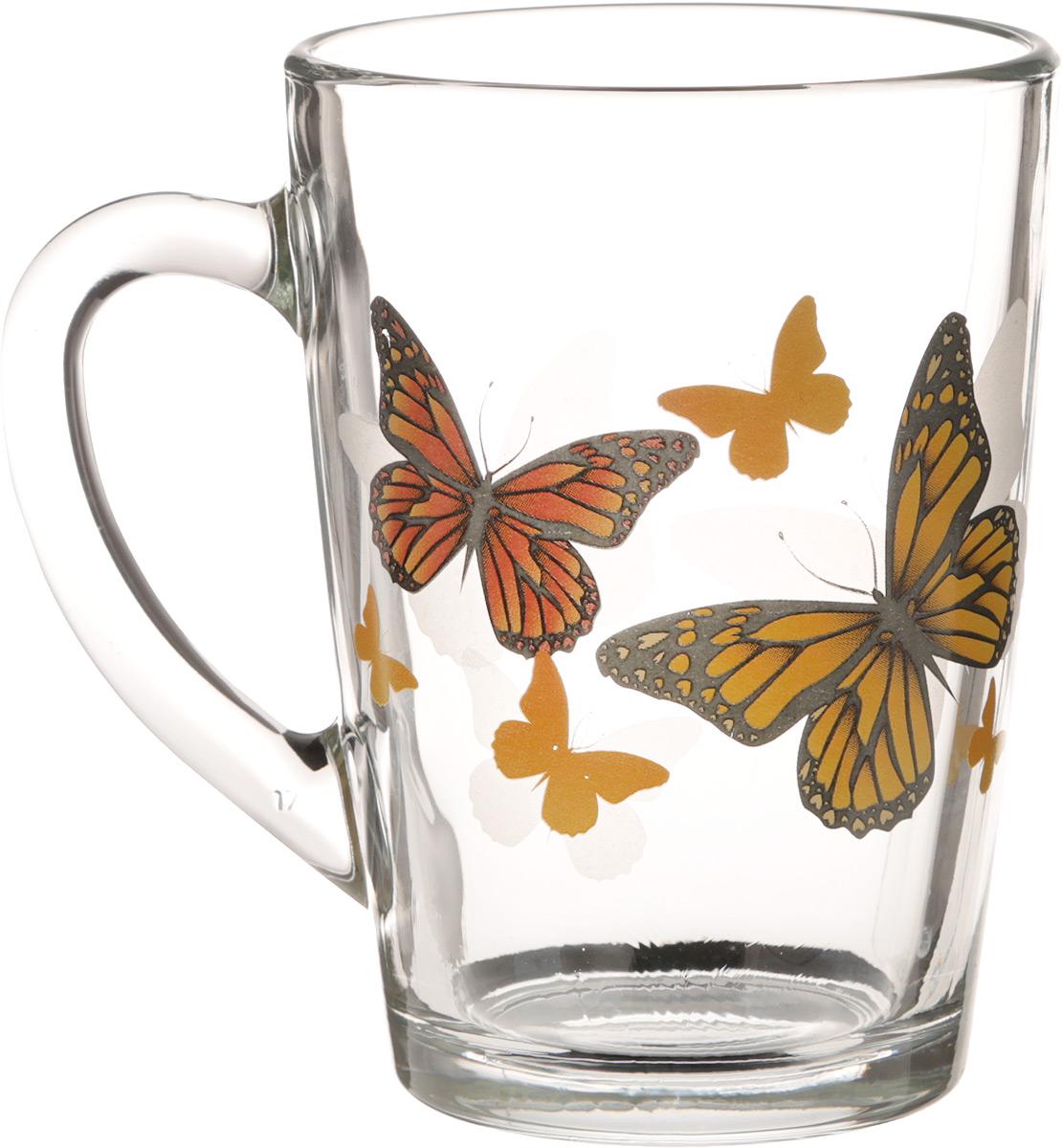 Кружка OSZ Капучино. Желтые бабочки, 300 мл.07C1334-ZHBКружка OSZ Капучино. Желтые бабочки изготовлена из стекла и декорирована принтом. Диаметр (по верхнему краю): 7,5 см. Высота: 11 см.