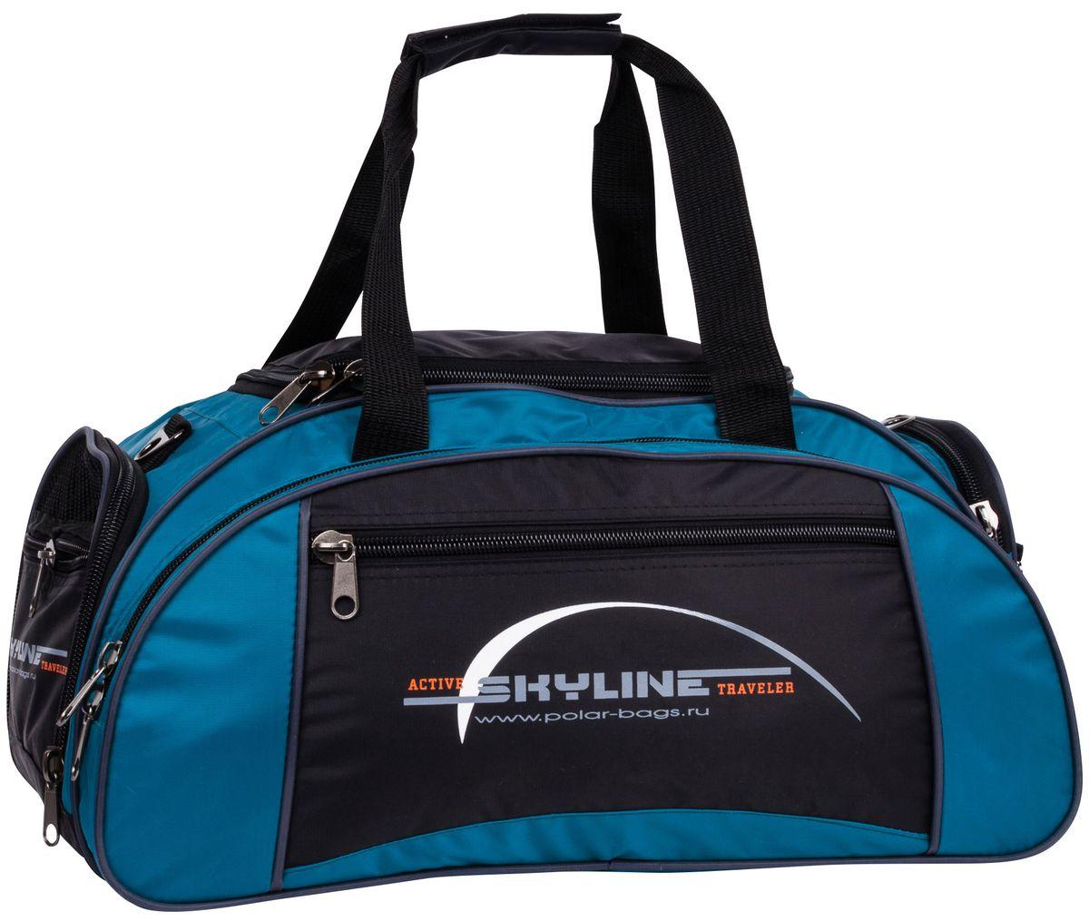 Сумка спортивная Polar Скайлайн, цвет: черный, голубой, 36 л, 30 х 50 х 24 см. 60636063Спортивная сумка для ваших вещей. Большое отделение под вещи, плюс три кармана снаружи сумки, позволит вместить в сумку самые необходимые вещи. Карман сбоку под обувь. Имеется плечевой ремень.