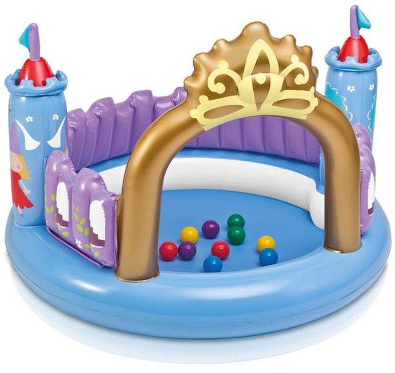 Intex Детский надувной бассейн Волшебный замок с шарикамис48669Надувной бассейн с шариками Волшебный замок, 130х91 см послужит отличным подарком для ребенка, ведь производитель Интекс известен качественными игрушками и другими товарами для детей.
