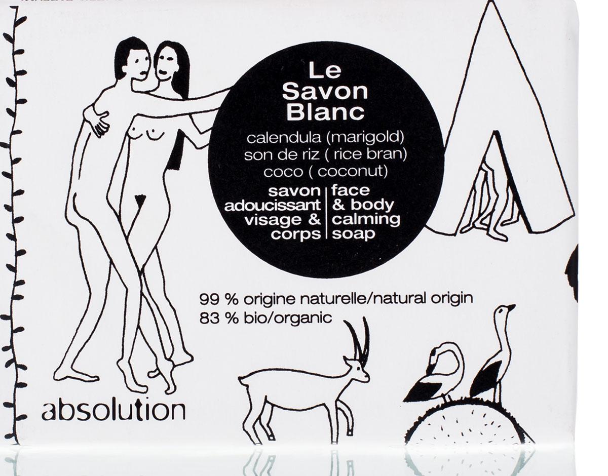 Absolution Мыло для лица и тела Le Savon Blanc 100 грABS0032Белое мыло с календулой, маслом рисовых отрубей и кокосом особенно мягко очищает кожу, не пересушивая ее. Легкий цитрусовый аромат придаст бодрости на весь день. Используйте утром и вечером в качестве мыла для рук и для тела, а также для лица. Нанесите на влажную кожу, слегка помассируйте круговыми движениями. Оставьте мыло на несколько секунд, после чего тщательно смойте водой. В случае попадания в глаза тщательно промойте чистой водой.
