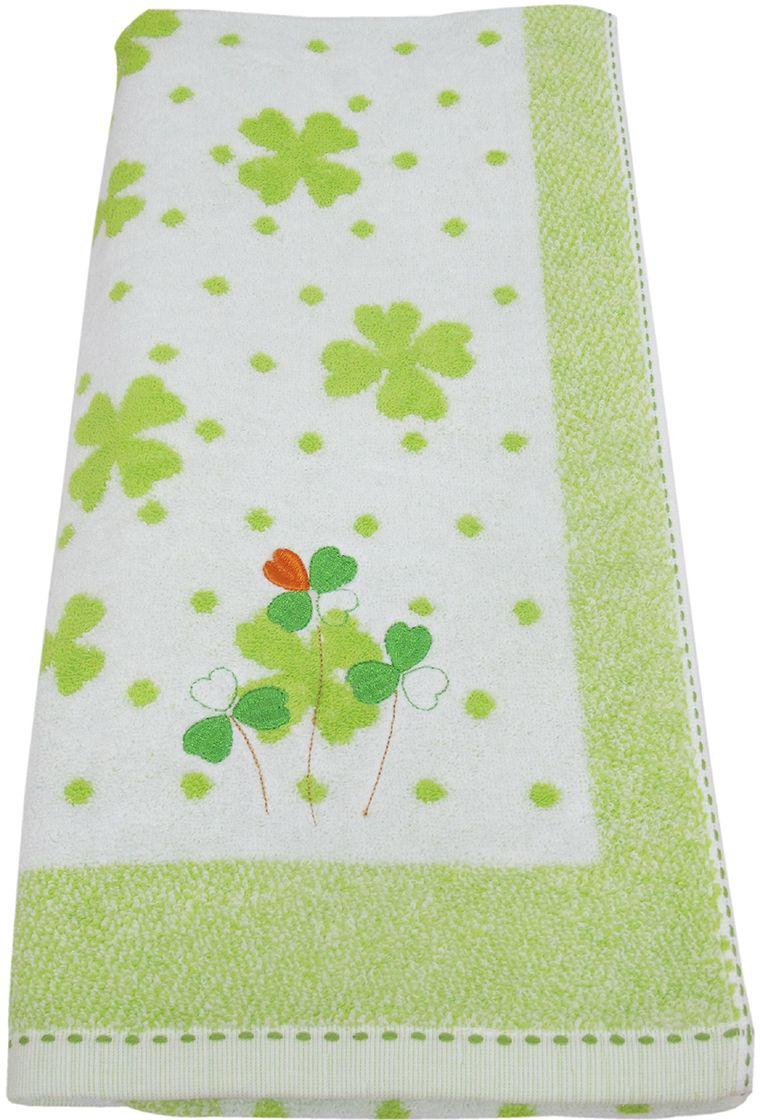 Полотенце махровое НВ Клевер, цвет: зеленый, 70 х 140 см. м0240_343247