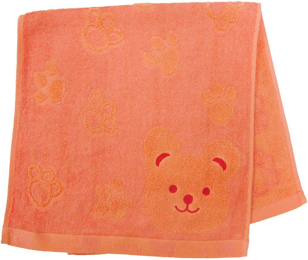 Полотенце махровое НВ Счастливый медведь, цвет: оранжевый, 33 х 70 см. м0392_1355309