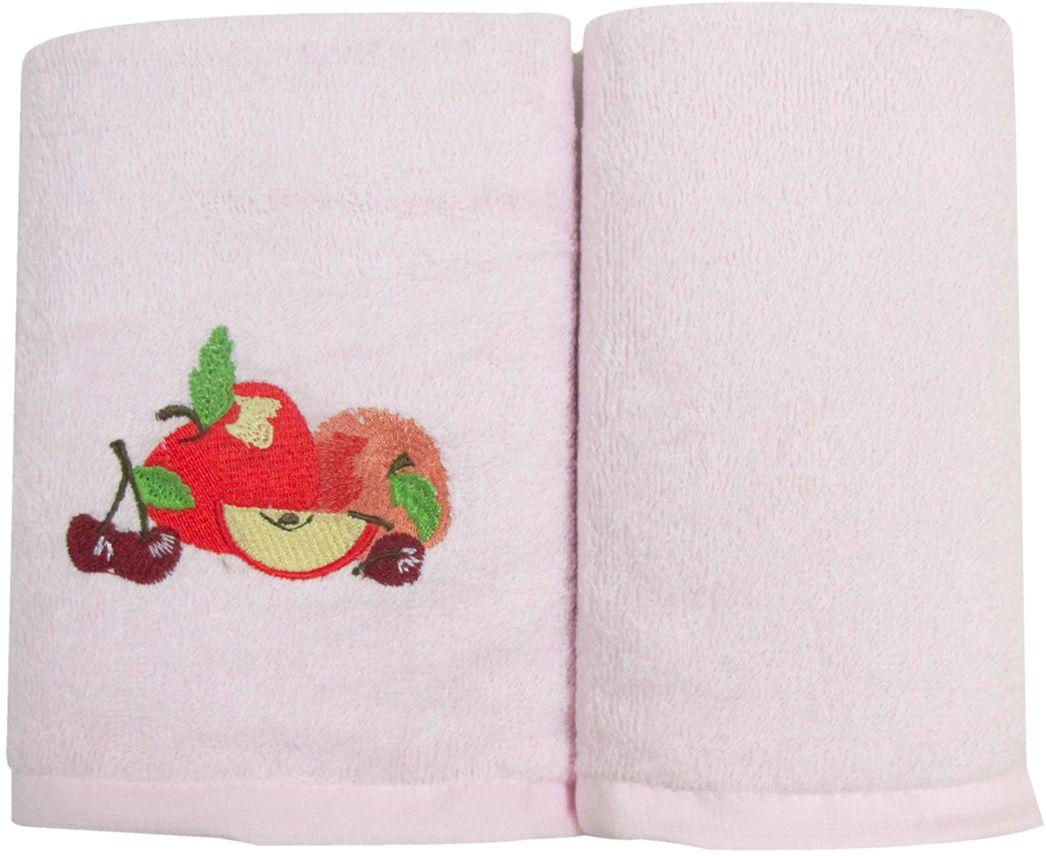 Набор махровых полотенец НВ Фрукты/овощи, цвет: розовый, 30 х 50 см, 2 шт. м0572_0273027