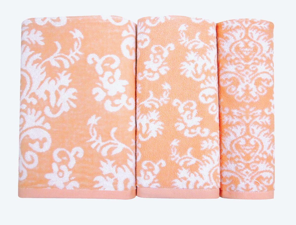 Набор махровых полотенец НВ Элиза, цвет: персиковый, 30 х 50 см, 50 х 90 см, 70 х 140, 3 шт. м0600_1274726