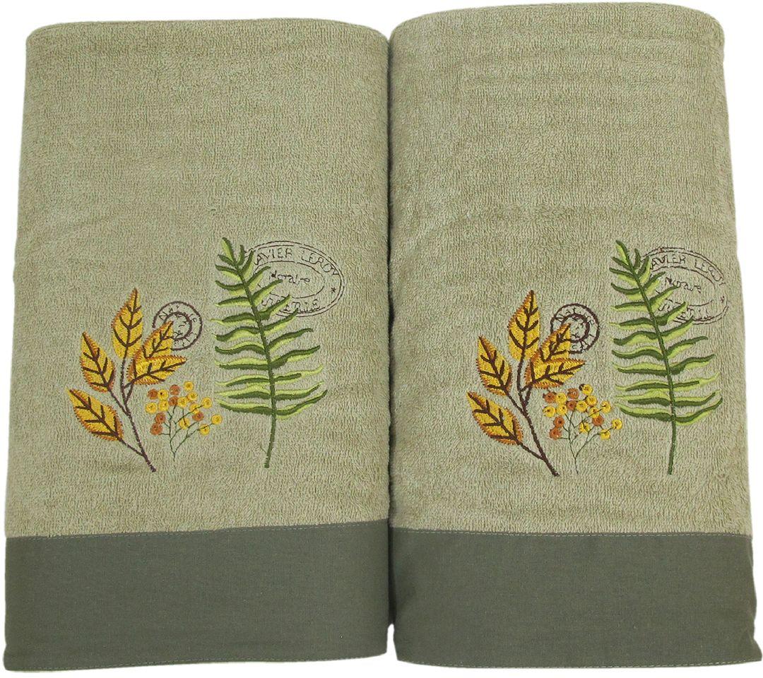 Набор махровых полотенец НВ Ботаника, цвет: зеленый, 45 х 90 см, 65 х 130 см, 2 шт. м062478889