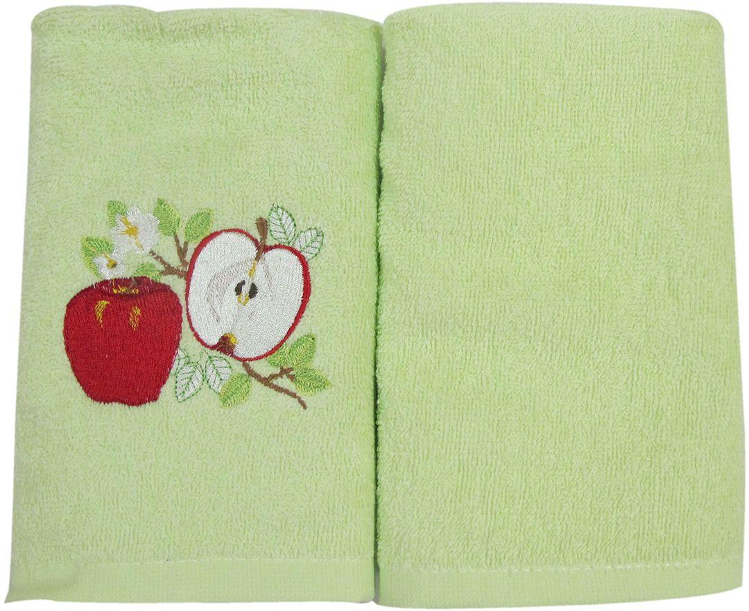 Набор махровых полотенец НВ Фрукты/овощи, цвет: зеленый, 30 х 50 см, 2 шт. м0626_0380084
