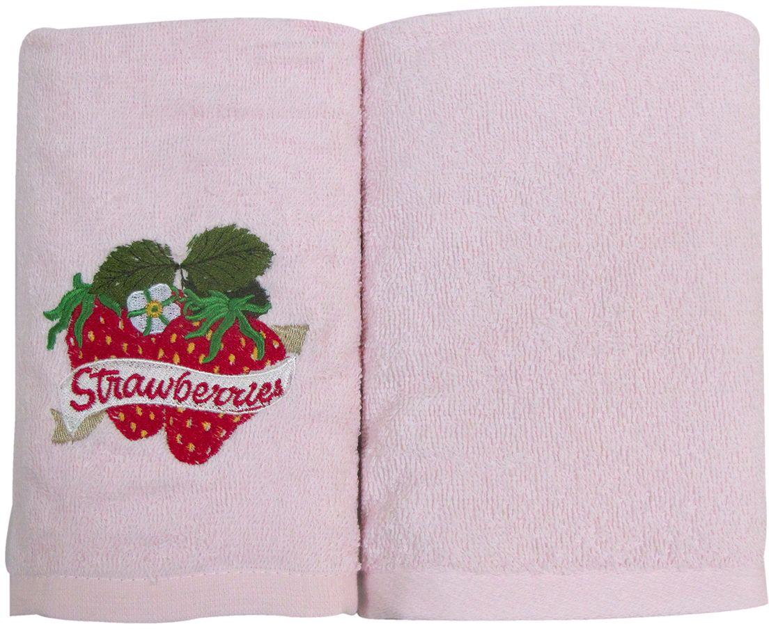 Набор махровых полотенец НВ Фрукты/овощи, цвет: розовый, 30 х 50 см, 2 шт. м0627_0280085