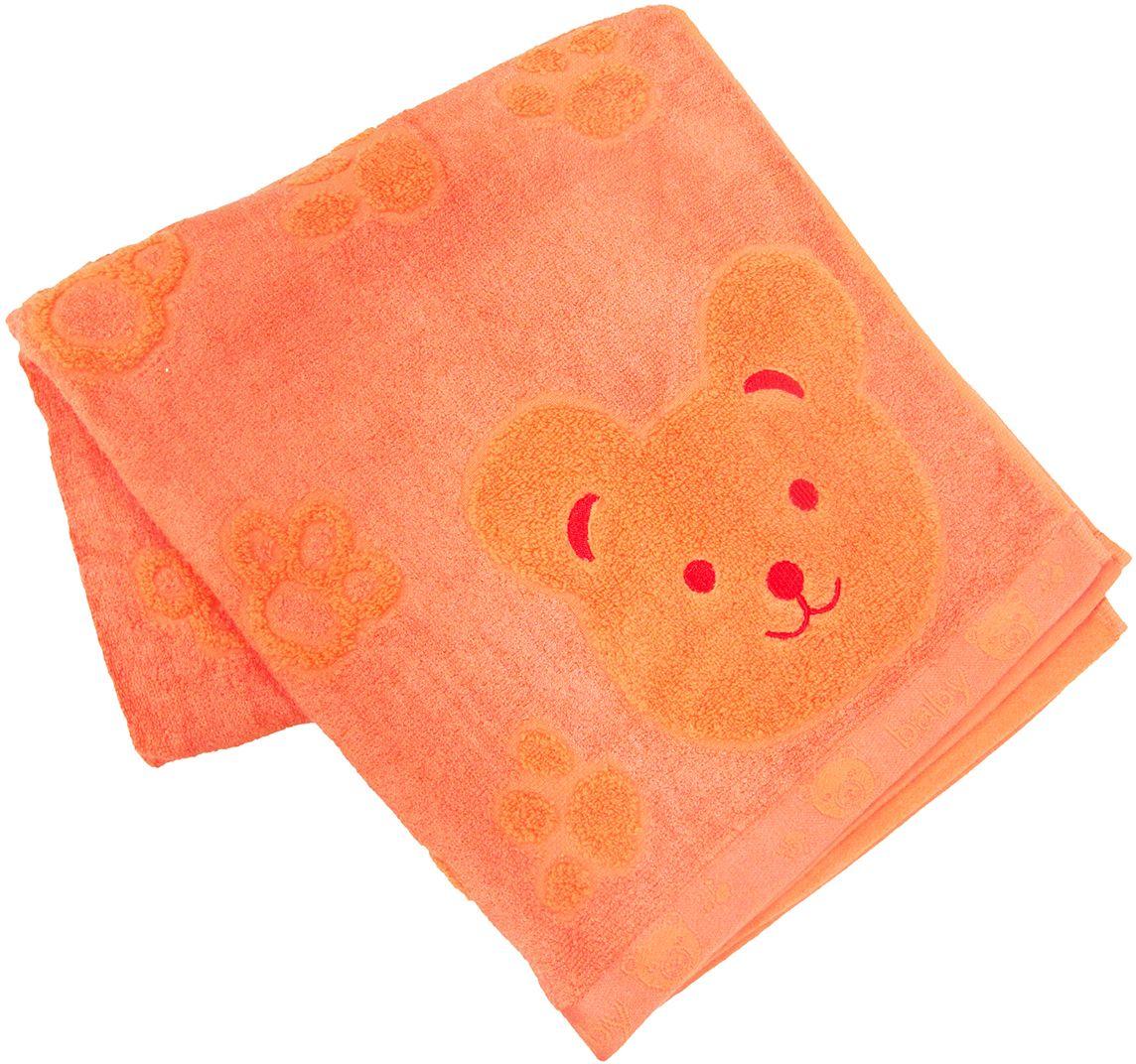 Полотенце махровое НВ Счастливый медведь, цвет: оранжевый, 60 х 120 см. м0392_1384596