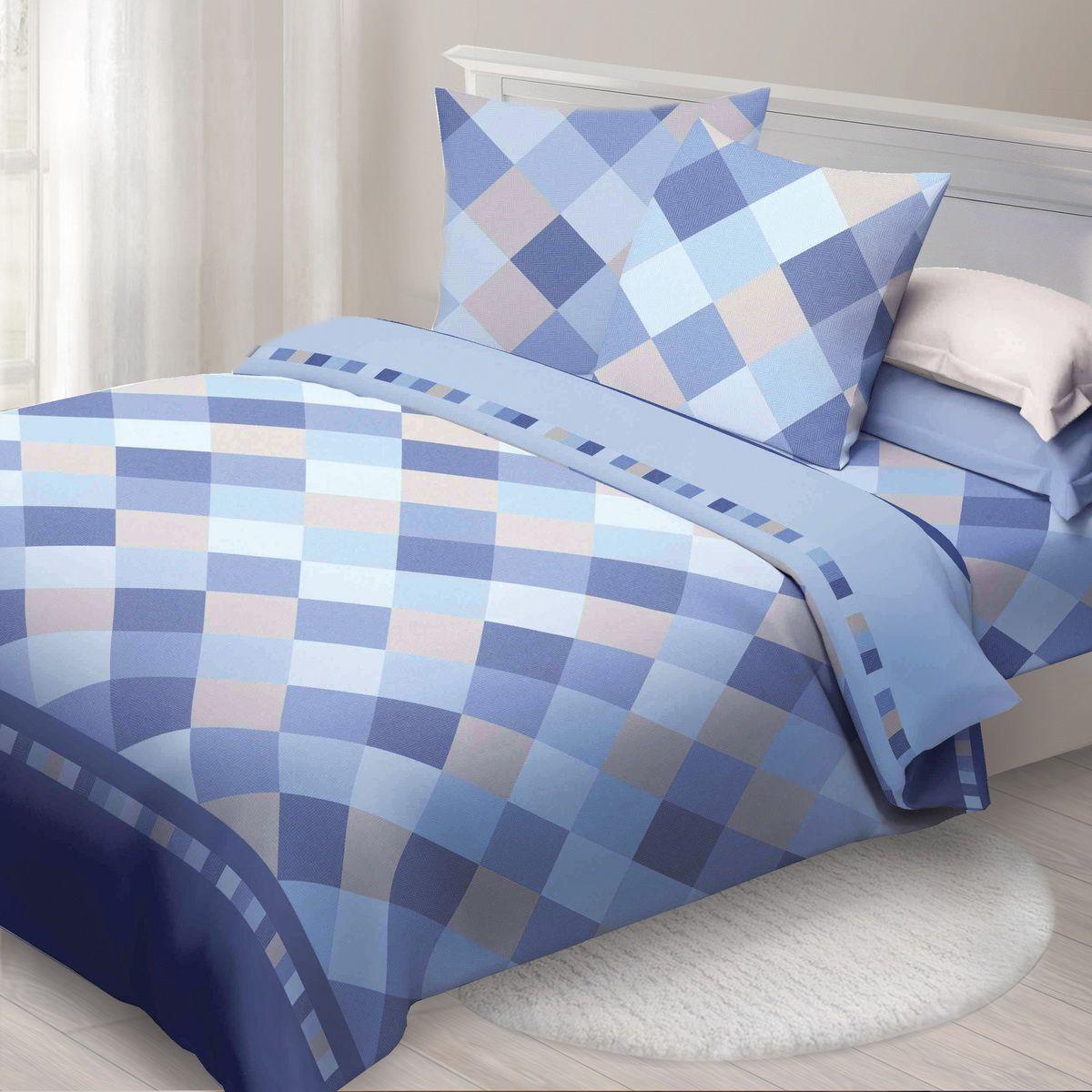 Комплект белья Спал Спалыч Твил, 2-спальное, наволочки 70x70, цвет: голубой88067Спал Спалыч - недорогое, но качественное постельное белье из белорусской бязи. Актуальные дизайны, авторская упаковка в сочетании с качественными материалами и приемлемой ценой - залог успеха Спал Спалыча! В ассортименте широкая линейка домашнего текстиля для всей семьи - современные дизайны современному покупателю! Ткань обработана по технологии PERFECT WAY - благодаря чему, она становится более гладкой и шелковистой. • Бязь Барановичи 100% хлопок • Плотность ткани - 125 гр/кв.м.