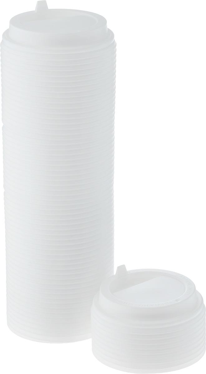 Крышка одноразовая Протэк, с носиком, цвет: белый, диаметр 9 см, 100 шт. ПОС29008ПОС29008