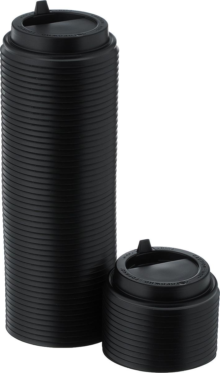 Крышка одноразовая Протэк, с носиком, цвет: черный, диаметр 8 см, 100 шт. ПОС29587ПОС29587