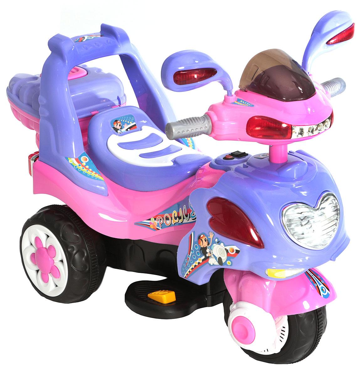 G120 Мотоцикл детский на аккумуляторе с багажником цвет розовый
