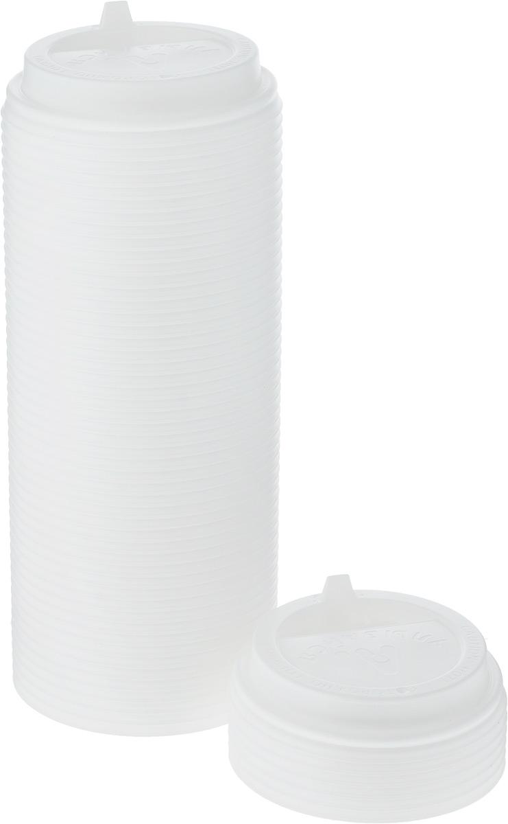 Крышка одноразовая Протэк Улыбайся, с носиком, цвет: белый, диаметр 8 см, 100 шт. ПОС31513ПОС31513