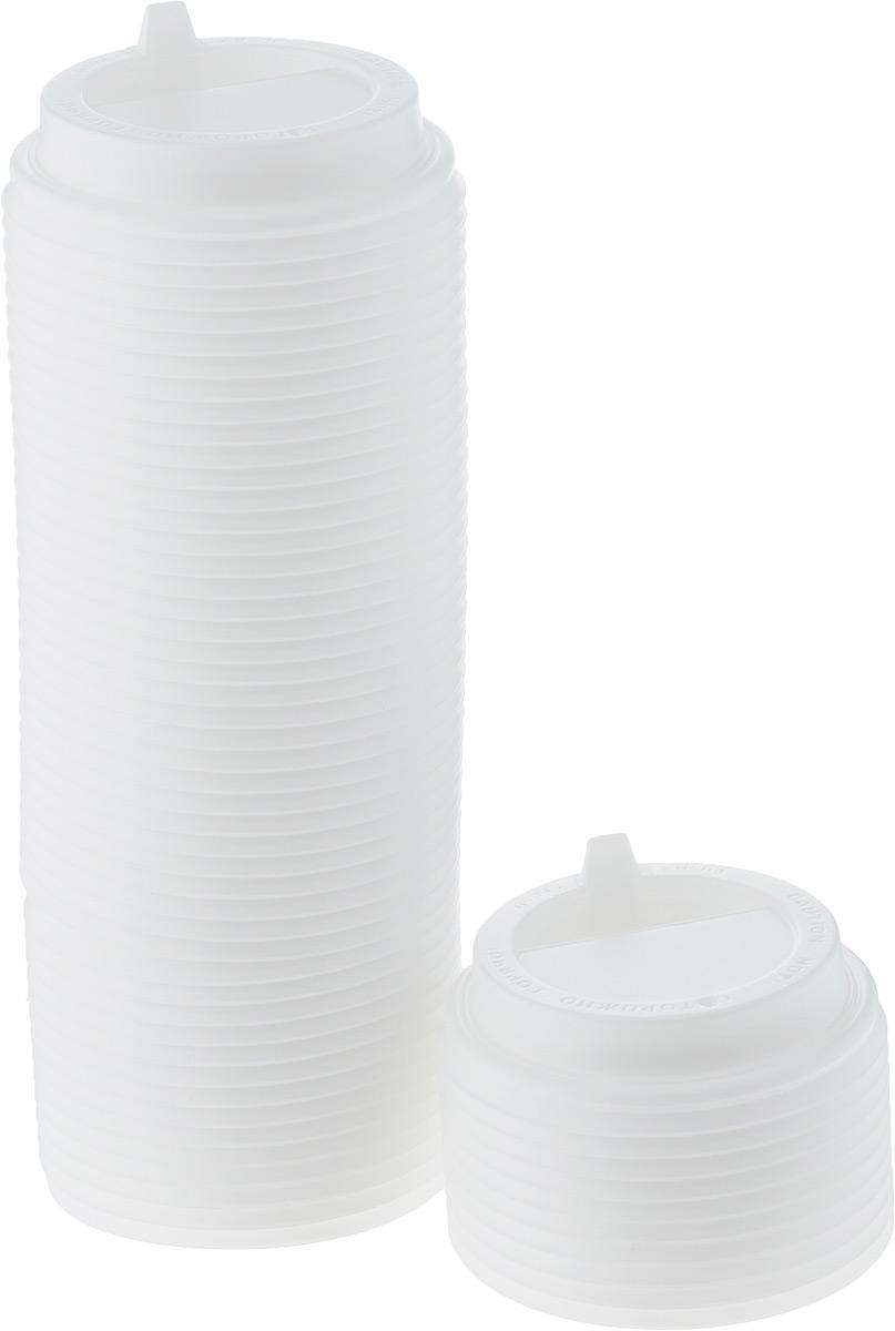 Крышка одноразовая Протэк, с носиком, цвет: белый, диаметр 8 см, 100 шт. ПОС26656ПОС26656
