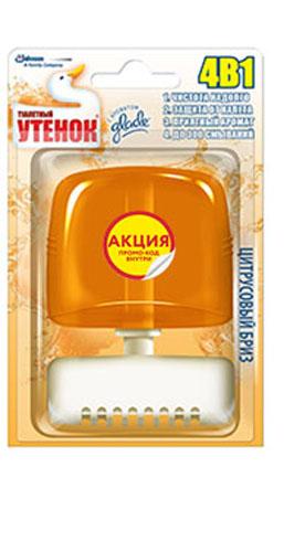 Средство для ванной и туалета Туалетный утенок Цитрусовый бриз, 55 мл673672_акцияЖидкий подвесной освежитель для унитаза, который удобно крепится на его стенке.