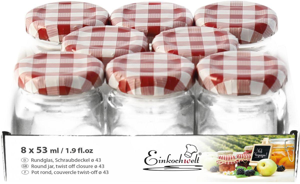 Набор банок для сыпучих продуктов Einkochwelt Twist, с металлическими крышками, 53 мл, 8 шт344445Набор состоит из восьми стеклянных банок объемом 53 мл с завиничивающимися крышками. Они предназначены для хранения сыпучих продуктов и консервации. Такие крышки сделают процесс приготовления домашних заготовок легким и приятным, а также обеспечат надежное хранение готовых продуктов. Оригинальная форма банок позволит им стать не только полезными изделиями, но и украшением интерьера вашей кухни.