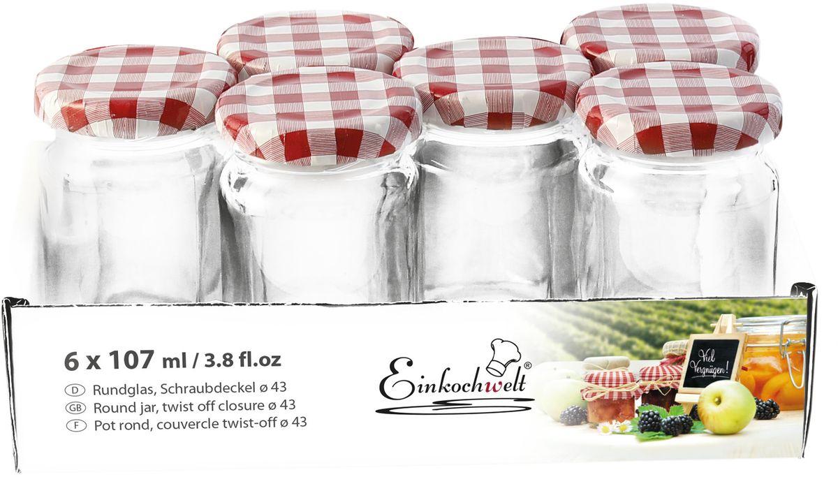 Набор банок для сыпучих продуктов Einkochwelt Twist, с металлическими крышками, 107 мл, 6 шт344452Набор состоит из семи стеклянных банок объемом 45 мл с завиничивающимися крышками. Они предназначены для хранения сыпучих продуктов и консервации. Такие крышки сделают процесс приготовления домашних заготовок легким и приятным, а также обеспечат надежное хранение готовых продуктов. Оригинальная форма банок позволит им стать не только полезными изделиями, но и украшением интерьера вашей кухни.