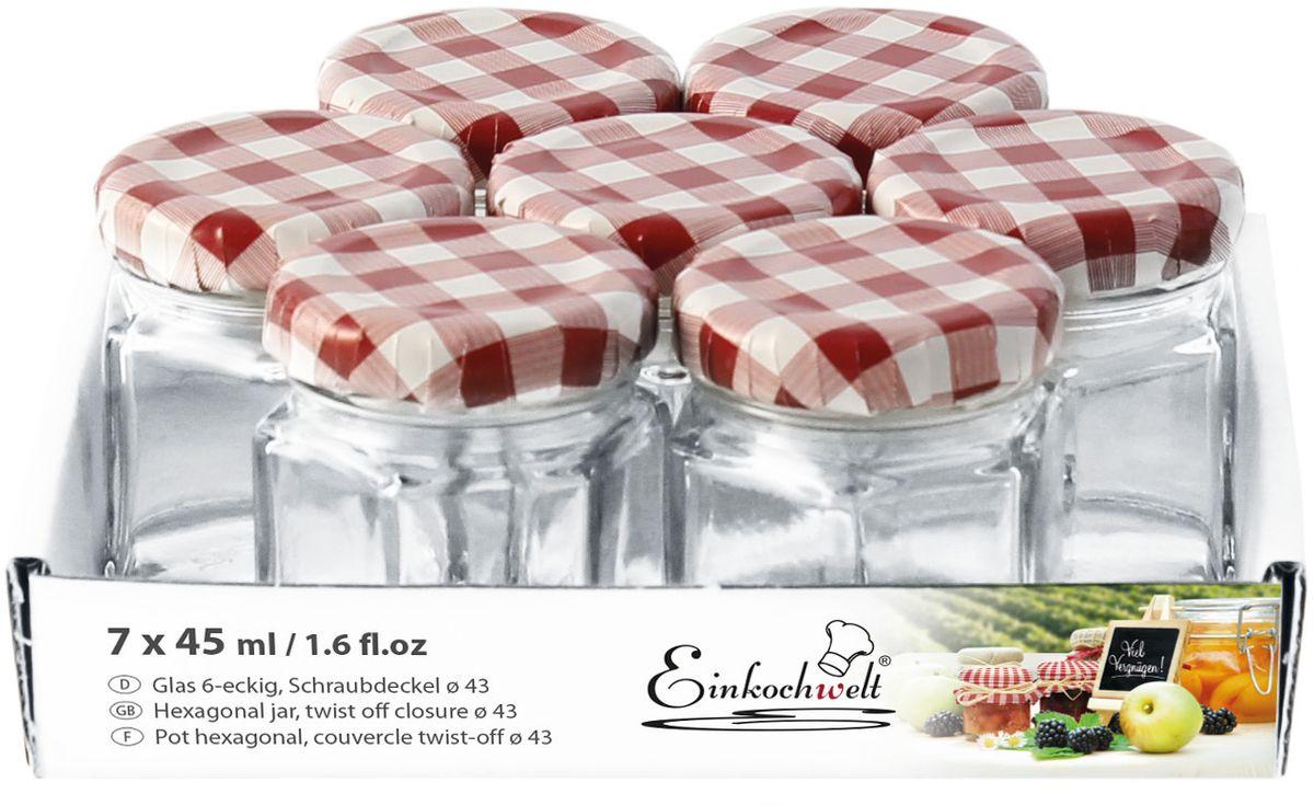 Набор банок для сыпучих продуктов Einkochwelt Twist, с металлическими крышками, 45 мл, 7 шт344469Набор состоит из семи стеклянных банок объемом 45 мл с завиничивающимися крышками. Они предназначены для хранения сыпучих продуктов и консервации. Такие крышки сделают процесс приготовления домашних заготовок легким и приятным, а также обеспечат надежное хранение готовых продуктов. Оригинальная форма банок позволит им стать не только полезными изделиями, но и украшением интерьера вашей кухни.