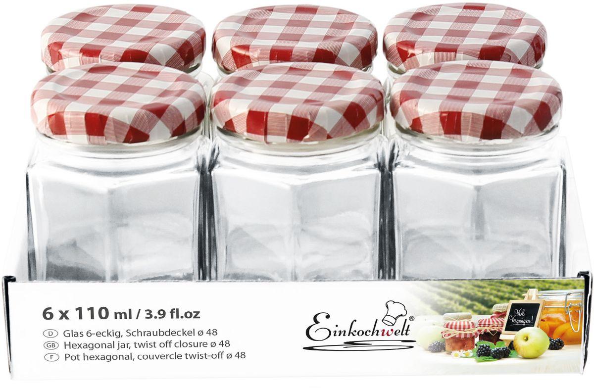 Набор банок для сыпучих продуктов Einkochwelt Twist, с металлическими крышками, 110 мл, 6 шт344476Набор состоит из семи стеклянных банок объемом 45 мл с завиничивающейся крышкой. Они предназначены для хранения сыпучих продуктов и консервации. Такие крышки сделают процесс приготовления домашних заготовок легким и приятным, а также обеспечат надежное хранение готовых продуктов. Оригинальная форма банок позволит им стать не только полезными изделиями, но и украшением интерьера вашей кухни.
